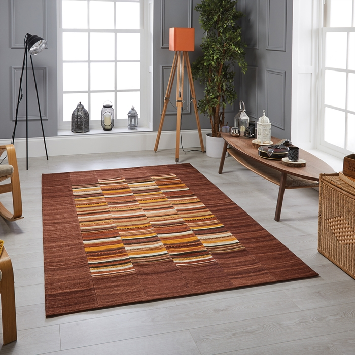 Navajo stripe Flatweave Brown Rug