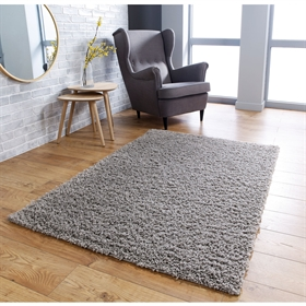 Isla Grey Plain Shaggy Rug