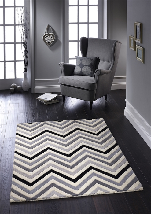 Cabone Black Grey Rugs