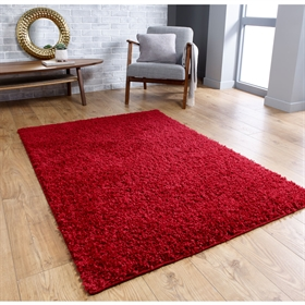 Isla Red Plain Shaggy Rug